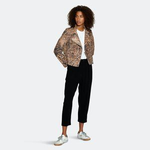 NEW Walter Baker Francis Leopard Print Leather Motorcycle Jacket